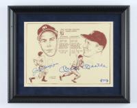 Mickey Mantle & Joe DiMaggio LE Signed Yankees 12x15 Custom Framed Bill Gallo Art Lithograph Display (PSA LOA - Overall Grade PSA 10) (See Description) at PristineAuction.com