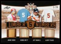 Johnny Bench / George Brett / Jeff Bagwell / Albert Pujols 2021 Leaf Lumber Lumber Numbers #LN04 #1/20 at PristineAuction.com