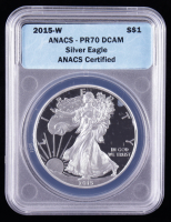 2015-W American Silver Eagle $1 One Dollar Coin (ANACS PR70 Deep Cameo) at PristineAuction.com