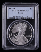 2001-W American Silver Eagle $1 One Dollar Coin (PCGS PR69 Deep Cameo) at PristineAuction.com