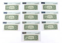 Lot of (10) Sequentially Numbered 1957A $1 Silver Certificate Bank Notes (PMG Gem Uncirculated 66 EPQ) at PristineAuction.com