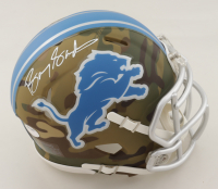 Barry Sanders Signed Lions Camo Alternate Speed Mini Helmet (Schwartz Sports COA) at PristineAuction.com