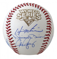 2009 World Series Logo Baseball Team-Signed by (9) with Alex Rodriguez, Derek Jeter, Mariano Rivera (Steiner COA) at PristineAuction.com