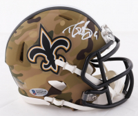 Drew Brees Signed Saints Camo Alternate Speed Mini Helmet (Beckett COA) at PristineAuction.com
