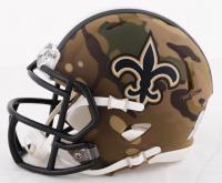 Drew Brees Signed Saints Camo Alternate Speed Mini Helmet (Beckett COA) at PristineAuction.com