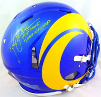 """Marshall Faulk Signed Rams Full-Size Authentic On-Field Speed Helmet Inscribed """"HOF 20XI"""" & """"2000 MVP"""" (Beckett Hologram) at PristineAuction.com"""