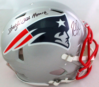 """Randy Moss Signed Patriots Full-Size Authentic On-Field Speed Helmet Inscribed """"Straight Cash Homie"""" (Beckett Hologram) at PristineAuction.com"""