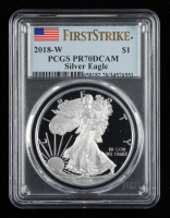 2018-W American Silver Eagle $1 One Dollar Coin - First Strike (PCGS PR70 Deep Cameo) at PristineAuction.com