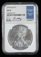 2018 American Silver Eagle $1 One Dollar Coin - Moy Signed Label (NGC MS70) at PristineAuction.com