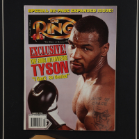 Mike Tyson Signed 17x22 Custom Framed Boxing Glove Display with Full Vintage Ring Magazine (PSA COA) at PristineAuction.com