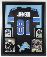 Calvin Johnson Signed 34x42 Custom Framed Jersey Display (JSA COA) at PristineAuction.com
