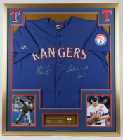 """Nolan Ryan Signed 32x36 Custom Framed Jersey Display Inscribed """"Don't Mess With Texas!"""" with Ryan Jersey Pin (PSA COA) at PristineAuction.com"""