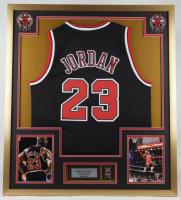 Michael Jordan 32x36 Custom Framed Jersey Display with Bulls Championship Pin at PristineAuction.com