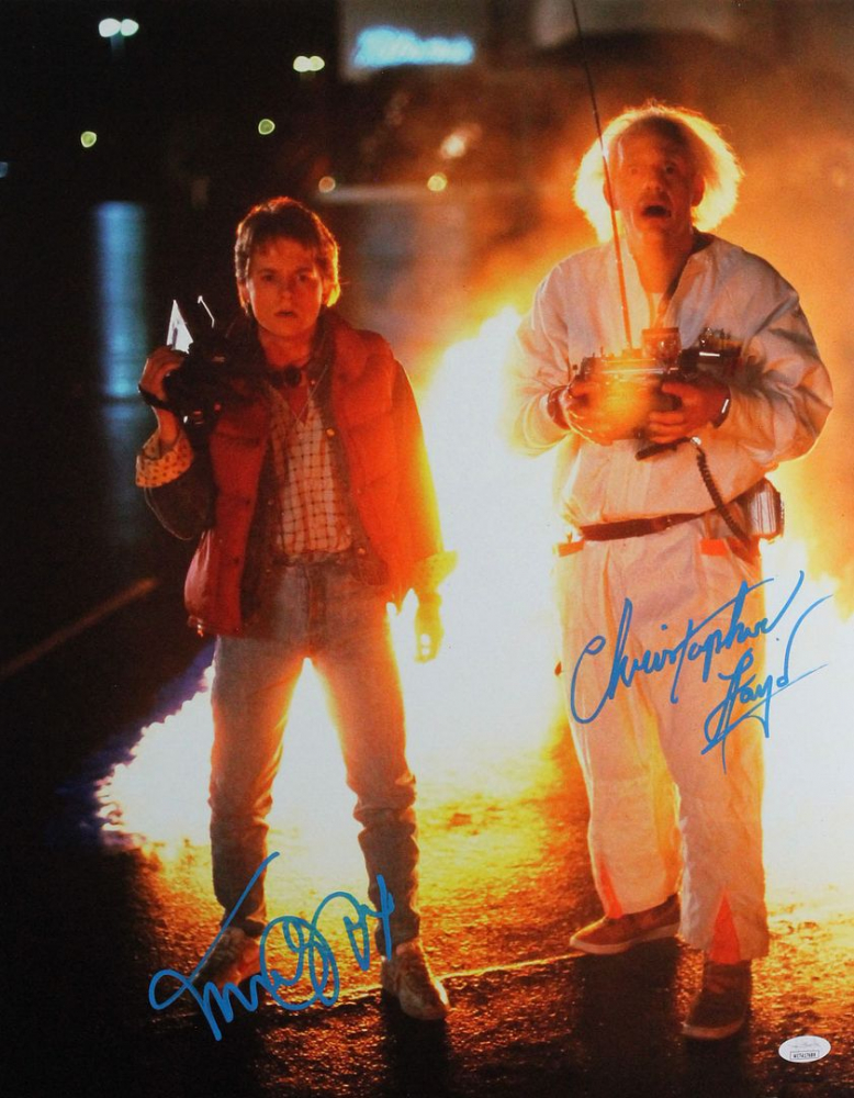 """Michael J. Fox & Christopher Lloyd Signed """"Back to the Future"""" 16x20 Photo (JSA Hologram) at PristineAuction.com"""