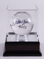 """Pete Rose Signed Crystal Lead Baseball Inscribed """"4256"""" With Display Case (PSA COA) at PristineAuction.com"""