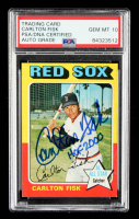 """Carlton Fisk Signed 1975 Topps #80 Inscribed """"HOF 2000"""" (PSA Encapsulated) at PristineAuction.com"""