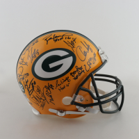 Packers Full-Size Authentic On-Field Helmet Signed by (23) with Brett Favre, Chris Jackie, Dorsey Levens, Ron Wolf, William Henderson, Earl Dotson, Mark Chmura, Andre Rison, Derrick Mays, Frank Winters (Radtke COA) (See Description) at PristineAuction.com