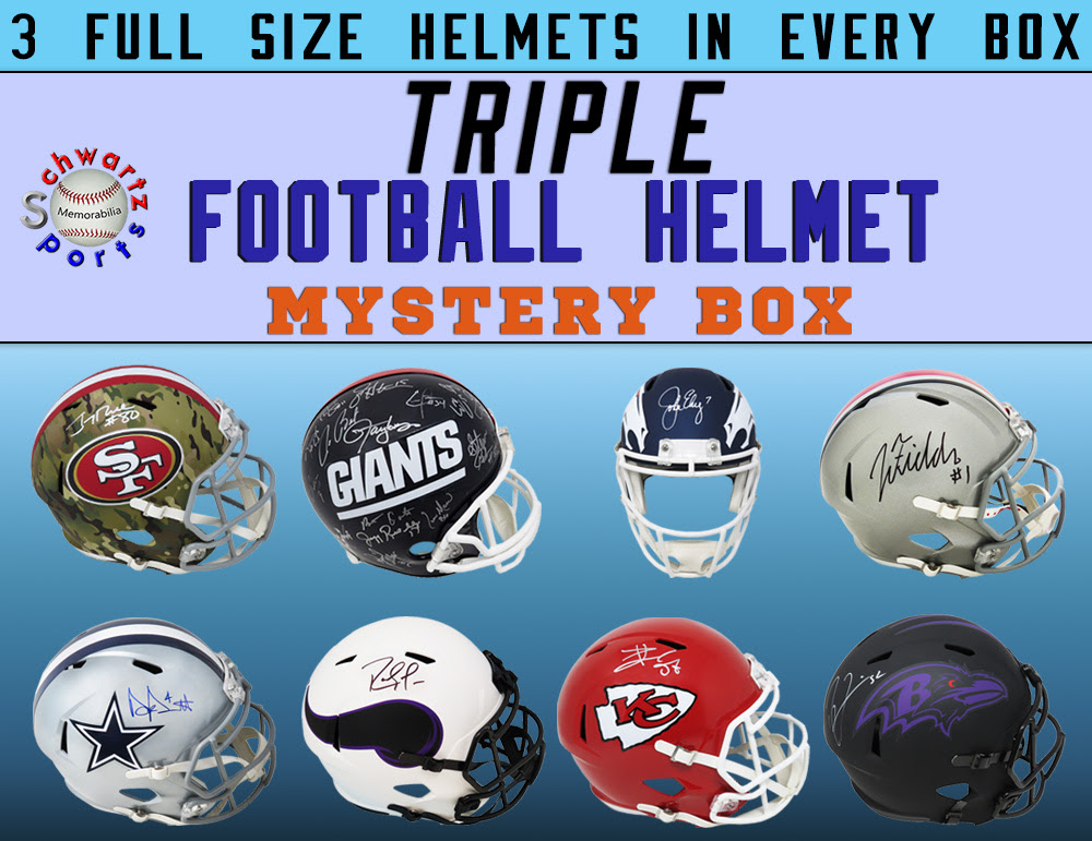Schwartz Sports TRIPLE Full-Size Football Helmet Mystery Box – Series 4 (Limited to 75) (3 Autographed Helmets In EVERY BOX!!!) at PristineAuction.com