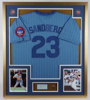 Ryne Sandberg Signed 32x36 Custom Framed Cut Display with Cubs Pin (PSA) at PristineAuction.com