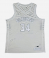 Giannis Antetokounmpo Signed Bucks Jersey (Fanatics Hologram) at PristineAuction.com