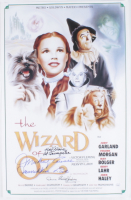 """Karl Slover, Mickey Carroll & Donna Stewart-Hardaway Signed """"The Wizard Of Oz"""" 16x24 Poster Inscribed """"Munchkin Love"""" & """"1st Trumpeter"""" (JSA COA) at PristineAuction.com"""