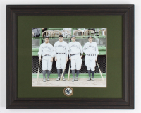 """Babe Ruth & Lou Gehrig Yankees """"Murder's Row"""" 13.5x16.5 Custom Framed Photo Display with Vintage 1927 Yankees Pin (See Description) at PristineAuction.com"""