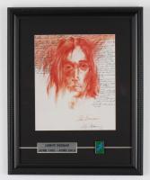 "Vintage LeRoy Neiman ""Imagine - John Lennon"" 13x16 Custom Framed Print Display With Lennon Album Pin at PristineAuction.com"