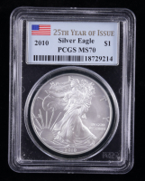 2010 American Silver Eagle $1 One Dollar Coin - 25th Year of Issue Label (PCGS MS70) at PristineAuction.com