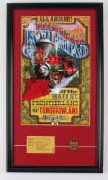 """""""Disneyland Railroad"""" 15x26 Custom Framed Print Display with """"D"""" Train Ticket and Bronze Pin (See Description) at PristineAuction.com"""