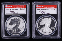 2012-S American Silver Eagle $1 One Dollar Coin Proof & Reverse Proof (2) Coin Set - 75th Anniversary, First Strike - Mercanti Signed Labels (PCGS PR69 DCAM) at PristineAuction.com