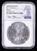 2017 American Silver Eagle $1 One Dollar Coin - Denver ANA, Mercanti Signed Label (NGC MS70) at PristineAuction.com