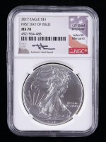 2017 American Silver Eagle $1 One Dollar Coin - First Day of Issue, Mercanti Signed Label (NGC MS70) at PristineAuction.com