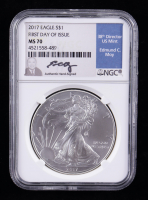 2017 American Silver Eagle $1 One Dollar Coin - First Day of Issue, Moy Signed Label (NGC MS70) at PristineAuction.com