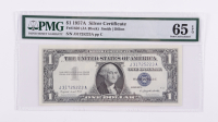 1957-A $1 Blue Seal Silver Certificate Bank Note (PMG Choice Uncirculated 65 EPQ) at PristineAuction.com
