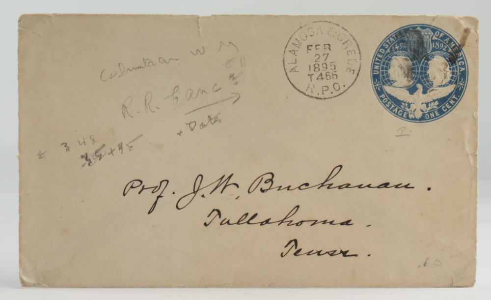 1895 Hand-Written Envelope With Antique US Postal History Stamp at PristineAuction.com