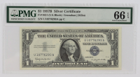 1957-B $1 Blue Seal Silver Certificate Bank Note (PMG Gem Uncirculated 66 EPQ) at PristineAuction.com