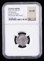 Geta as Caesar (A.D. 198-209) Roman Empire AR Denarius Ancient Roman Silver Coin - Seven Hills Hoard (NGC Ch XF) at PristineAuction.com