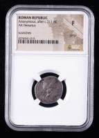 c.211 B.C. Roman Republic, Anonymous AR Denarius Ancient Roman Silver Coin (NGC Fine) at PristineAuction.com