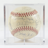1961 Giants ONL Baseball Team-Signed by (26) with Orlando Cepeda, Willie Mays, Willie McCovey with Display Case (Beckett LOA & Marshall LOA) at PristineAuction.com
