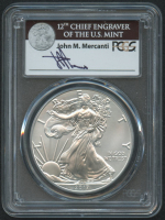 2017 American Silver Eagle $1 One Dollar Coin - First Day of Issue, Mercanti Signed Label (PCGS MS70) at PristineAuction.com