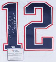 "Tom Brady Signed Patriots Jersey Inscribed ""4x SB MVP"" (Fanatics Hologram) at PristineAuction.com"