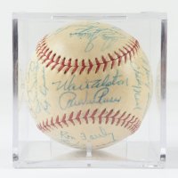 1958 Dodgers ONL Baseball Team-Signed by (28) with Walter Alston, Pee Wee Reese, Don Drysdale with Display Case (Beckett LOA & Marshall LOA) at PristineAuction.com