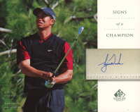 Tiger Woods 2004 SP Signature Signs of a Champion 8 x 10 #TW2 Black Vest at PristineAuction.com