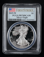 2015-W American Silver Eagle $1 One Dollar Coin - First Strike (PCGS PR70 Deep Cameo) at PristineAuction.com