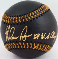 "Nolan Ryan Signed OML Black Leather Baseball Inscribed ""'69 WS Champs"" (AIV Hologram & Ryan Hologram) at PristineAuction.com"