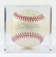 1985 Yankees OAL Baseball Team-Signed by (20) with Dave Winfield, Phil Niekro, Don Mattingly, Billy Martin with Display Case (Beckett LOA & Marshall LOA) at PristineAuction.com