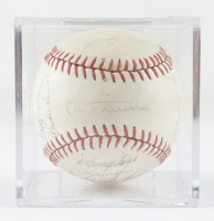 1969 Cubs Baseball Team-Signed by (25) with Leo Durocher, Ernie Banks, Ron Santo, Billy Williams, Fergie Jenkins with Display Case (Beckett LOA & Marshall LOA) at PristineAuction.com