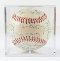 1958 Dodgers ONL Baseball Team-Signed by (29) with Sandy Koufax, Don Drysdale, Pee Wee Reese with Display Case (Beckett LOA & Marshall LOA) at PristineAuction.com