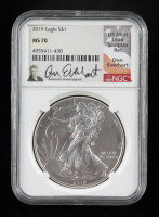 2019 American Silver Eagle $1 One Dollar Coin - Don Everhart Signed Label (NGC MS70) at PristineAuction.com