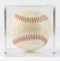 1972 Cubs Baseball Team-Signed by (26) with Leo Durocher, Ron Santo, Billy Williams, Fergie Jenkins with Display Case (Beckett LOA & Marshall LOA) at PristineAuction.com